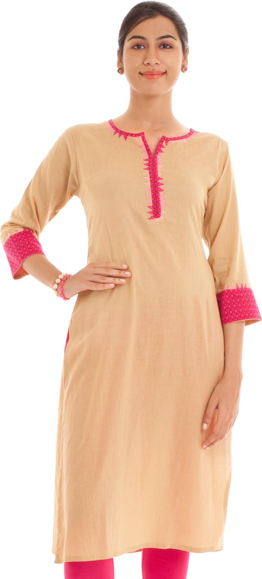 Naksh Jaipur Solid Womens Straight Kurta(Beige)