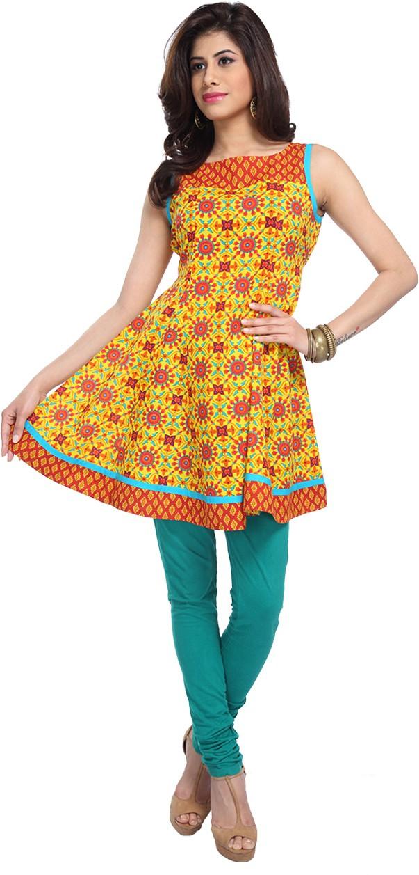 Enah Printed Womens Anarkali Kurta(Yellow)