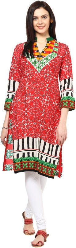 IVES Casual Printed Women's Kurti(Red)