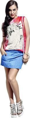 Khoobee Party, Festive Sleeveless Self Design, Printed Women's Pink, White Top