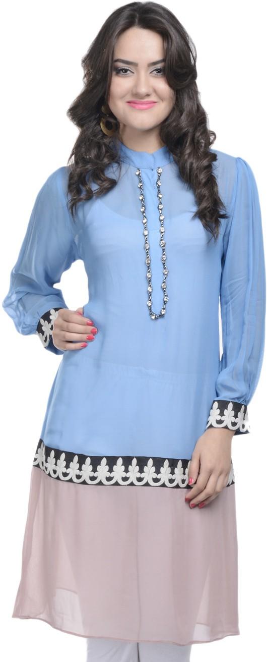 Adakari Casual Embroidered Womens Kurti(Blue)