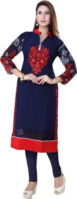 Poonam Designer Studio Casual Embroidered Women's Kurti(Blue)