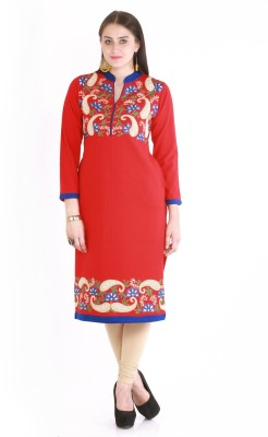 Rebecca Festive & Party Self Design Women's Kurti(Red)