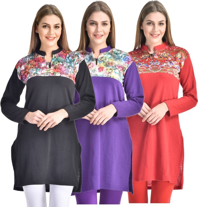 Hardys Solid Women's Kurti(Pack of 3, Multicolor)