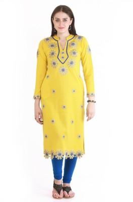 Rebecca Formal Self Design Women's Kurti(Yellow)