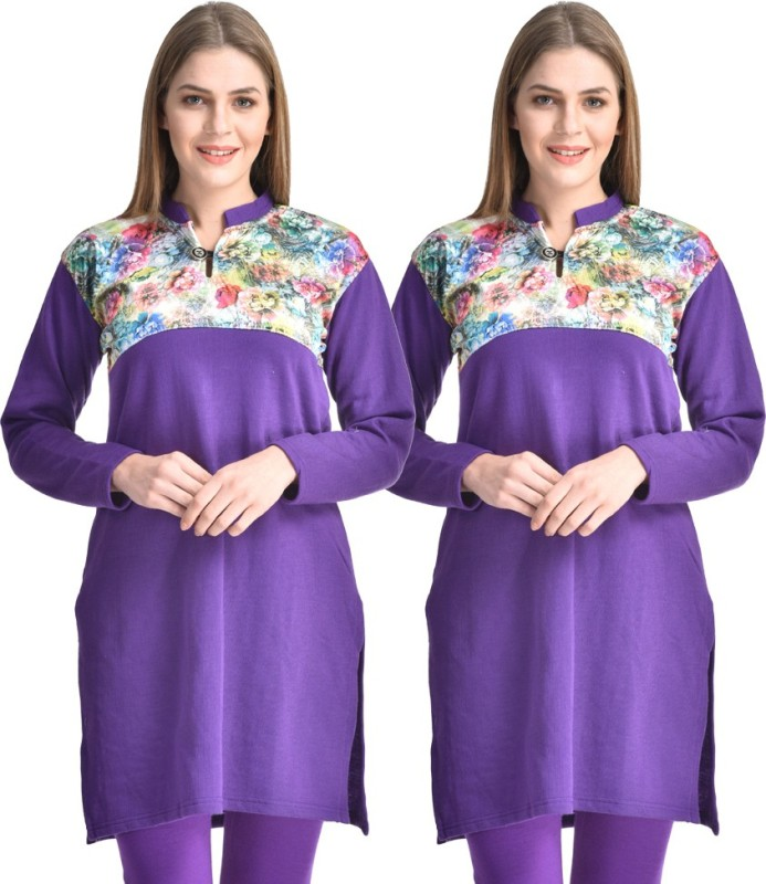 Hardys Solid Women's Kurti(Pack of 2, Purple)