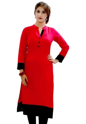 AccuStyle Casual Self Design Women's Kurti(Red)