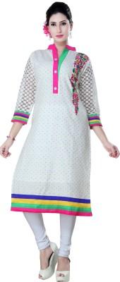 Poonam Designer Studio Casual Embroidered Women's Kurti(White)