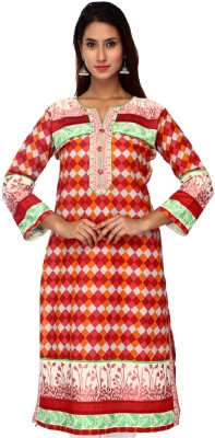 Tystha Casual Checkered Women's Kurti(Red) at flipkart