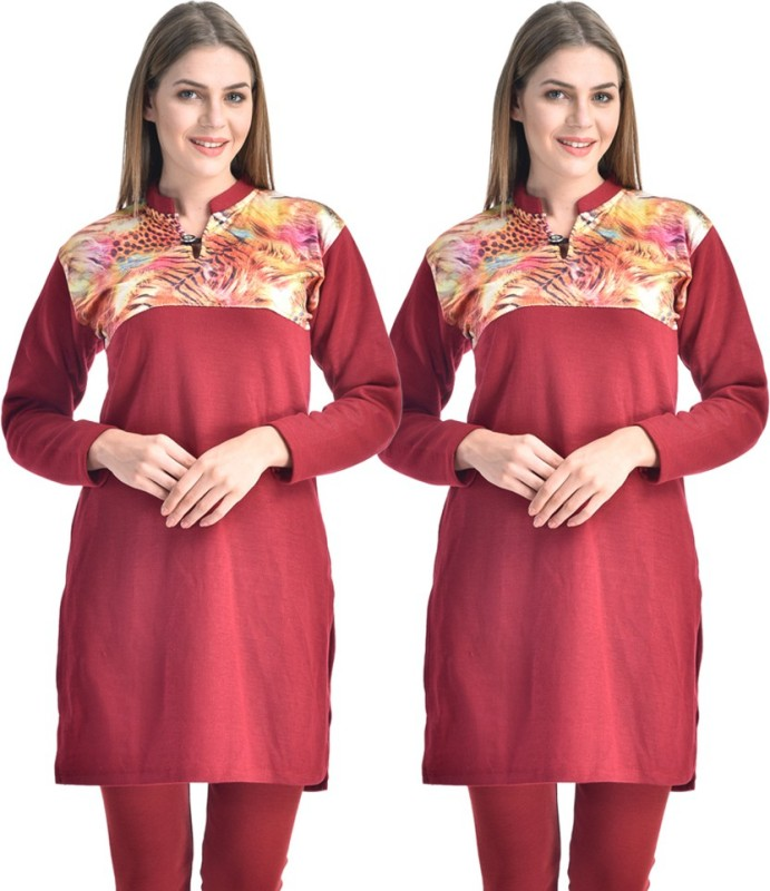 Hardys Solid Women's Kurti(Pack of 2, Maroon)