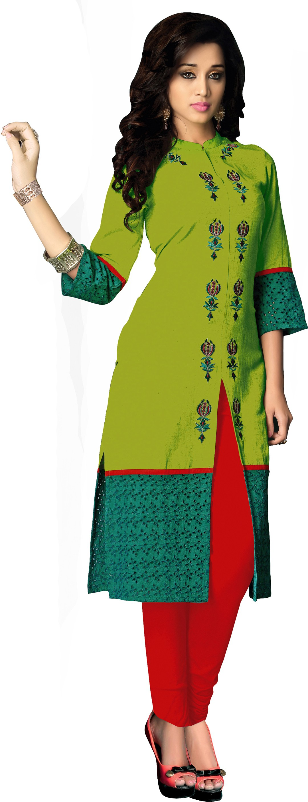 Khushali Festive & Party Embroidered Women's Kurti(Light Green)