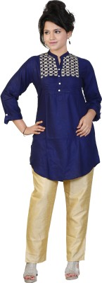 Sruti Festive Embroidered Women's Kurti(Dark Blue)