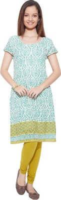 Go India Store Casual Printed Women's Kurti(Green) at flipkart
