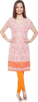 Go India Store Casual Printed Women's Kurti(Orange) at flipkart