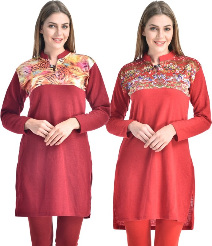 Hardys Solid Women's Kurti(Pack of 2, Multicolor)
