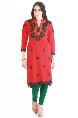 Rebecca Formal Self Design Women's Kurti(Red)