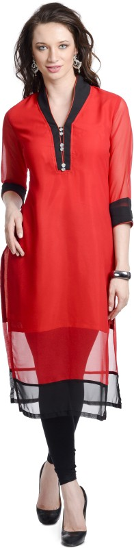 Chandigarh Fashion Mall Casual Solid Women's Kurti(Red)
