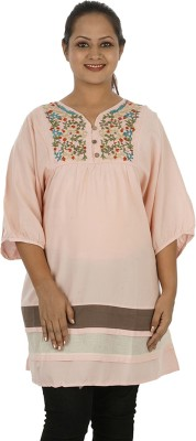 Mamma Mia Casual Solid Womens Maternity Wear Kurti(Pink)