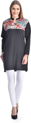 Sanvi Traders Casual Solid Womens Maternity Wear Kurti(Black)