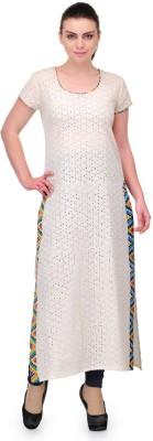 Cenizas Casual Self Design Women's Kurti(White) at flipkart