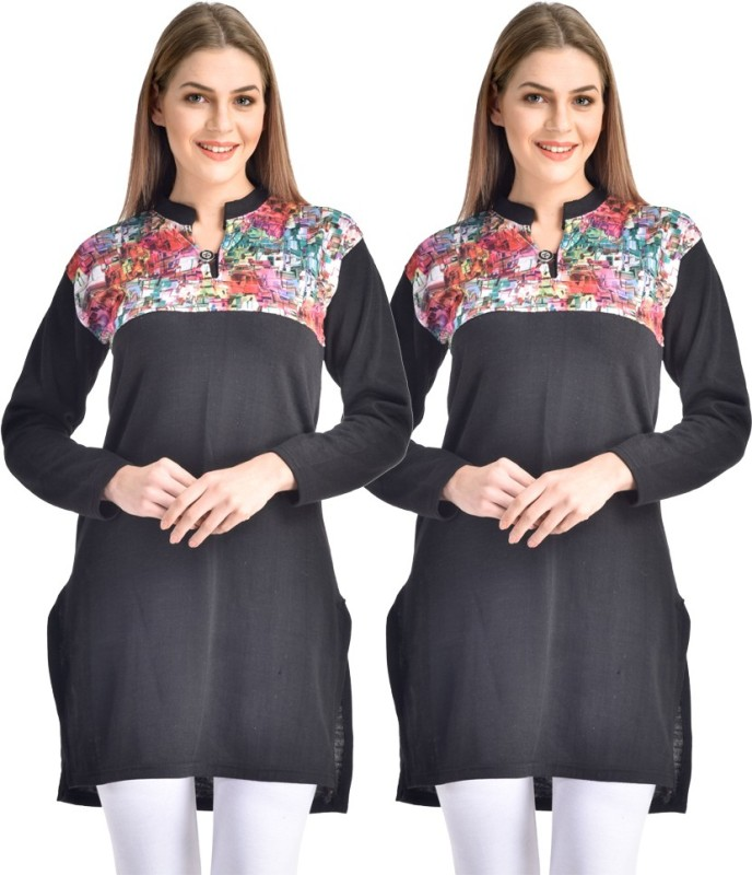 Hardys Solid Women's Kurti(Pack of 2, Black)