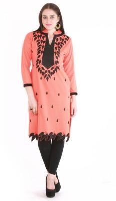 Rebecca Festive & Party Applique Women's Kurti(Orange)