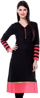 AccuStyle Casual Self Design Women's Kurti(Black)