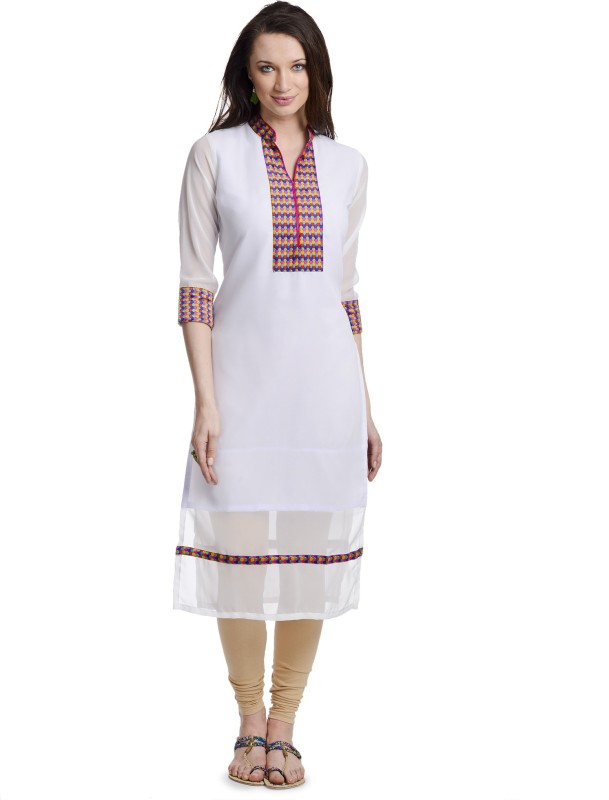 Chandigarh Fashion Mall Casual Solid Women's Kurti(White)