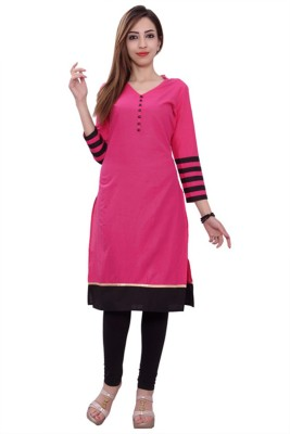AccuStyle Casual Self Design Women's Kurti(Pink)