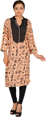 Mamma Mia Casual Printed Womens Maternity Wear Kurti(Orange)