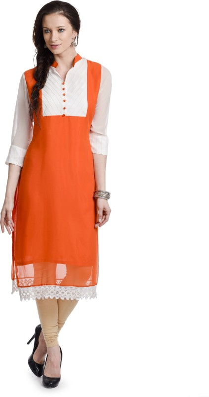 Chandigarh Fashion Mall Casual Solid Women's Kurti(Orange)