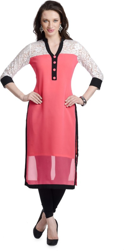 Chandigarh Fashion Mall Casual Printed Women's Kurti(Pink)