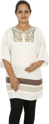 Mamma Mia Casual Solid Womens Maternity Wear Kurti(White)