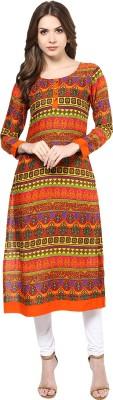 IVES Ikat Women's Kurti(Orange) at flipkart