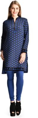 Sanvi Traders Casual Solid Womens Maternity Wear Kurti(Blue)
