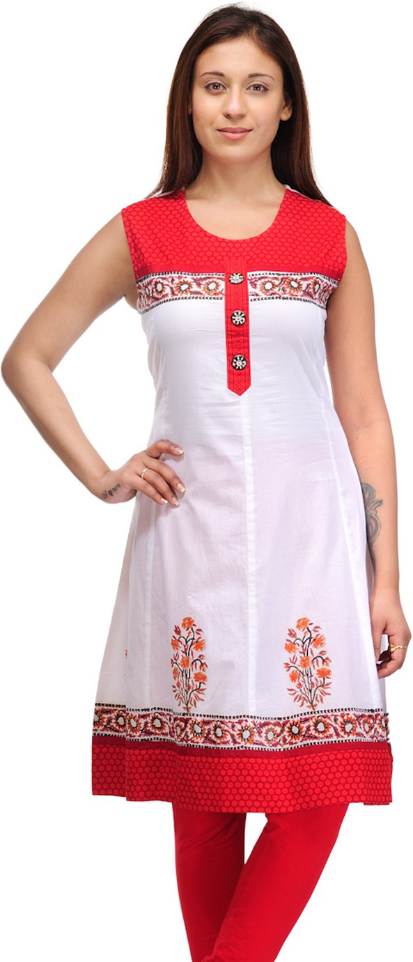 Belle Casual Solid Womens Kurti(Red, White)