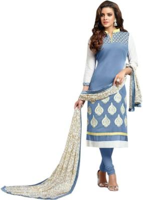 KrishnaFashion321 Chanderi Embroidered Semi-stitched Salwar Suit Dupatta Material
