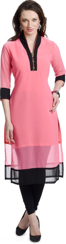 Chandigarh Fashion Mall Casual Solid Women's Kurti(Pink)