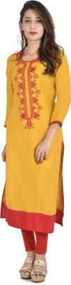 Style N Shades Festive & Party Embroidered Women's Kurti(Yellow) at flipkart