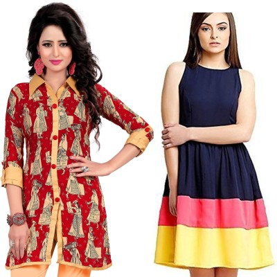Fashion Bucket Casual Printed Women's Kurti(Pack of 2, Multicolor) at flipkart