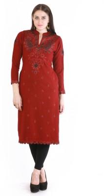 Rebecca Festive & Party Embroidered Women's Kurti(Maroon)