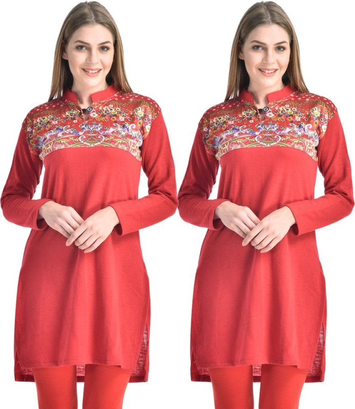 Hardys Solid Women's Kurti(Pack of 2, Red)