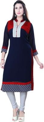 Poonam Designer Studio Casual Embroidered Women's Kurti(Dark Blue)