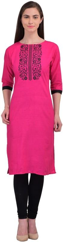 Divi Casual Printed Women's Kurti(Pink, Black)