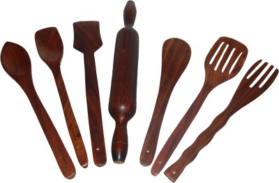 Indoart Consisting Of 2 Bouillon,1 Scrapper, 1 Chapati Roller , 1 Butter Spoon, 2 Slotted Spoon Art No:7sia-Kt16 Wooden Ladle(Brown, Pack of 7)