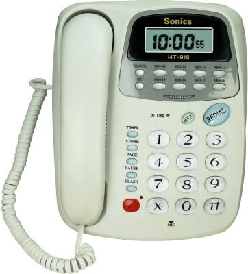 Sonics HT-818 Corded Landline Phone(White)