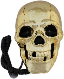 Tootpado Skeleton Skull Shape Wired Telephone with Led Eyes (Golden) Corded Landline Phone