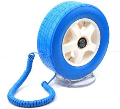 Tootpado Wheel Shape With LED Light - Telephone Corded Landline Phone(Blue)