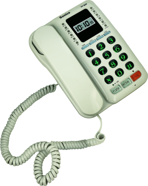View Sonics HT-829 Corded Landline Phone(White) Home Appliances Price Online(Sonics)