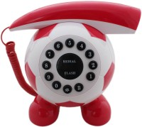 Tootpado Football Shaped Corded Landline Telephone - Novelty Home Decor Creative Fixed Line Phone Corded Landline Phone(White/Red)